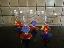 Set of 4 Vintage Beach Theme Plastic Margarita Glasses Home Drinkware
