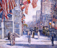 May 1917 by Childe Hassam Art Print Manhattan USA Flag Poster 11x14 Allies Day