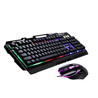 USB Gaming Mouse Keyboard Set Combo Wired LED Light for Computer Black
