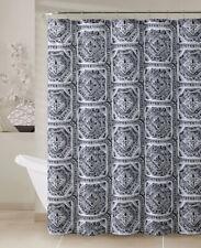 "Gray, Black & White Fabric Shower Curtain: Printed Geometrical Design, 72"" x 72"""