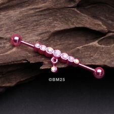 Dangle Industrial Barbell - Pink Colorline Dazzling Gem Row Sparkle
