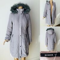 Ladies ROMAN ORIGINALS Padded/Quilted Coat Jacket Size 12 Light Grey Immaculate
