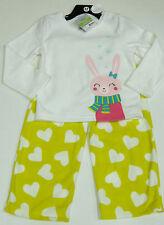 Carter's fille 2 pces bunny Pyjamas Set Blanc Top, Jaune Polaire Pantalon 3 ans