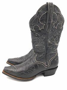 "JB DILLON ""Goatskin"" Black Leather Lizard Inlay Accent  Western Boots Size 8.5 B"