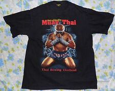 VTG Muay Thai Boxing Thailand Men's T-shirt XL Heavy Metal Rare Double Sided