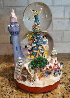 "Disney Music Snow Globe Christmas Castle We Wish You A Merry Xmas Sankyo 12"""