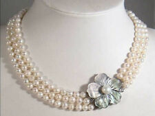 Fine 3Rows 7-8mm Natural White Akoya Cultured Pearl Necklace Shell Flower Clasp
