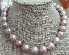 "HUGE 18""13-16mm natural south sea genuine purple violet pearl necklace  523AAA"
