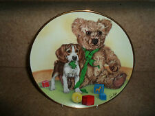 Collectable Decorative Plate ~ Caught In the Act (Teddy With Cute Puppy Dog)