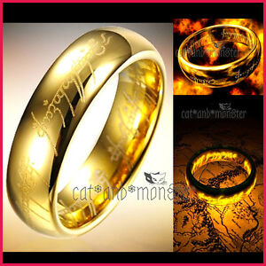 LORD OF THE RINGS HOBBIT GOLD PLATED Stainless Steel MENS BAND RING PENDANT GIFT
