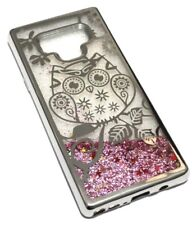 For Samsung Galaxy Note 9 - Silver Owl Flower Pink Glitter Liquid Case Cover