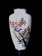 "Antique Japanese Ando Jubei cloisonne Cherry Blossom Bamboo vase 7.5"" ca.1910"