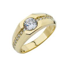 Solid Gold Mens Solitaire Ring with 1.5ct Cubic Zirconia Center Stone