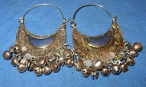 "Earrings Lapis Crescent Afghan Kuchi Tribal Alpaca Silver 2"""