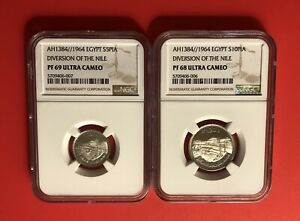EGYPT-1964- (5&10 PIASTRE )2 SILVER PROOF  COINS,GRADED BY NGC PR68&69 ULT.CAMEO