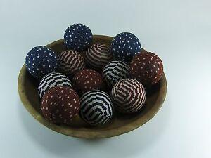 "12 Primitive Country 2"" Americana  Fabric Rag Balls Jar Bowl Basket Filler"