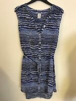 Ex Monsoon Blue Floral Shirt Shift Summer Tunic with Waist Tie Size 8 - 16 (224)