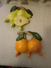 Set of 2 Ceramic Fruit Wall Hangings With Hooks Pears and Oranges