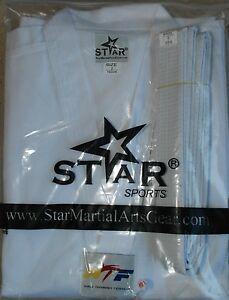 New Taekwondo Uniform White with white V-Neck Dobok White Collar all sizes