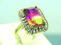 Turkish Handmade Jewelry 925 Sterling Silver Tourmaline Stone Women Ring Sz 8
