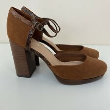 M&S Size 7 Tan Shoes Block Wooden Effect Heel Almond Toe Faux Snake Print Buckle