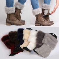 Women Winter Knit Ankle Boots Socks Leg Warmers Fluffy Fur Cuffs Soft Toppers