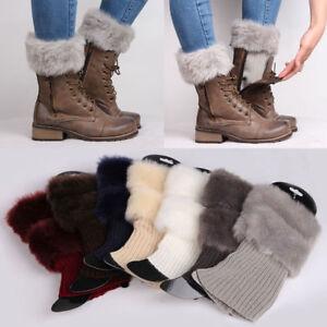 Women Winter Knit Fluffy Fur Boot Cuffs Toppers Crochet Socks Ankle Leg Warmers