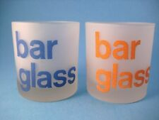 Morgan Bar Glass Frosted Rocks Blue and Orange Cocktail