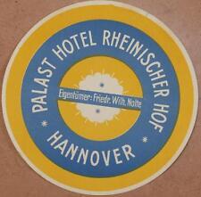 ETICHETTA ALBERGO HOTEL RHEINISCHER HOF HANNOVER GERMANIA GERMANY DEUTSCHLAND
