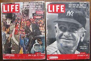 1958 Willie Mays & 1953 Casey Stengel/Ben Hogan LIFE Magazines in POOR Condition