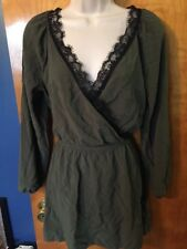 NWOT Womens Express Green Long Sleeve Dress, Black Lace, Ties In Back, Medium