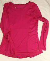 Fuscia Pink Racer Back Long Sleeve Shirt Active Women's Size M Medium Workout