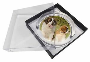 St Bernard Dog and Puppy Glass Paperweight in Gift Box Christmas Pres, AD-SBE1PW