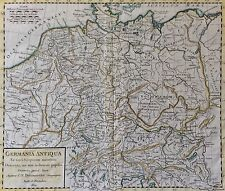 Estampe originale Allemagne 1825 Delamarche map GERMANIA ANTIQUA Deutschland