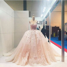 Pink/White Luxury Flowers Wedding Dresses Lace Puffy Bridal Gown Custom 2-22++