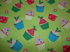 Handcrafted cotton fitted crib sheet,pillowcaseChristmas Cupcake,Green,/Neutral