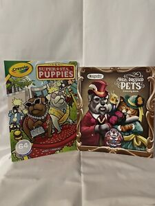 2 Crayola Color Book, Well Dressed Pets 40 Pages & Super Star Puppies 64 Pages