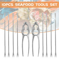10PCS Stainless Steel Seafood Tools Set Including 8 Forks 2 Lobster Crab Cracker