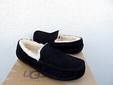 UGG ASCOT BLACK SUEDE/ SHEEPSKIN SLIPPERS, MENS US 10/ EUR 43 ~ RUN SMALL ~NEW