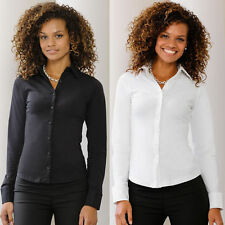 Ladies Smart Long Sleeve Work Fitted Stretch Shirt Blouse Top Office School Girl