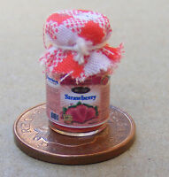 1:12 Scale Jar Of Strawberry Jam With A Red Check Cloth Top Dolls House Food