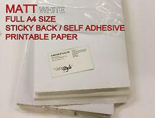 10 x A4 White [ MATT ] Autoadesivo Adesivo Di Carta Foglio Indirizzo Etichetta 1st Class