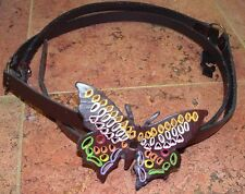 BUTTERFLY BROWN DOUBLE WRAP GENUINE LEATHER BELT S UNIQUE!!!