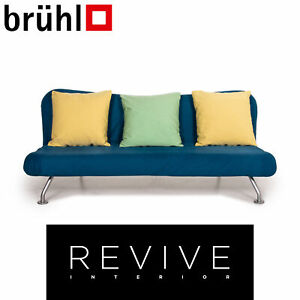 Brühl & Sippold more Sofa Bed Blue Yellow Three-Seater Sofa Function