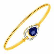 2 1/10 ct Ceylon Sapphire & 1/8 ct Diamond Teardrop Bangle Bracelet in 10K Gold