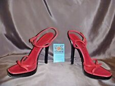 Casadei Red Leather Strappy Heels Size 6.5-7