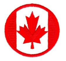 Canada Flag Patch Embroidered Sew On or Iron On Applique Canadian Circle