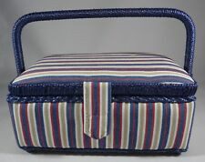 Sewing Box Storage Holder Velcro Close Lift Out Tray Padded Fabric Carry Handle