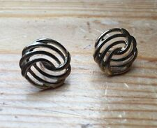 Chunky Vintage Silver Metallic Stud Design Earrings/Round/Cut Out Knot Effect