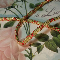 """Antique vtg Gold Metallic Rope Cord Trim braid with red cross design 3/8"""" THICK"""